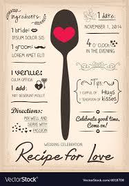 Recipe Card Wedding Invitation Cooking Concept
