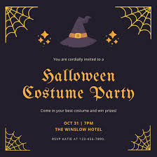 Purple And Orange Halloween Costume Party Invitation Templates By
