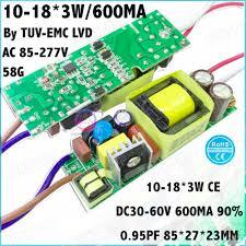 <b>3 Pcs</b> By TUV EMC LVD 40W AC85 277V <b>LED Driver</b> 10 18x3W ...