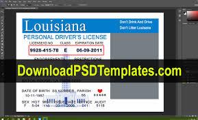Driving License Template la Editable Louisiana Psd