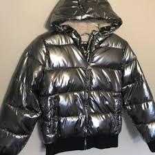 Tahari Outerwear Size Chart Silver Tahari Girls Metallic Hooded Bomber Jacket Nwt