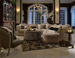 Michael Amini Living Room Furniture 6 Piece Toledo Fabric Sectional Set By Aico O Usa Furniture Online
