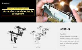 baseus mobile phone shooting game trigger fire on aim key ons l1 r1 cell phone game shooter controller for android ios