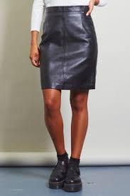 vintage high waisted black leather pencil skirt