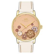 las coach grand chalk printed flower dial blush leather strap 36mm watch 14503008 reeds jewelers