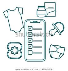 Baby Supplies Checklist Vector Illustration Smartphone Checklist Newborn Baby Stock