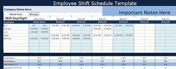 Employee Shift Schedule Template Project Management Excel