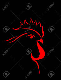 Big Red Rooster Design Abstract Big Red Rooster 2017 On The Black Background New Year