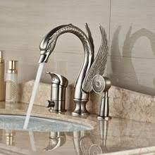 brushed nickel shower faucet 3 handle. wholesale and retail luxury animal swan brushed nickel deck mounted bathtub faucet 3 hole single handle mixer tap w/ hand shower