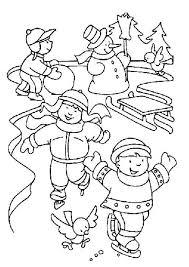 Kleurplaat Kerst Kleurplaten Ijspret Schaatsen Slee Sneeuwpop