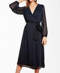 Trendyol Size Chart Navy Sheer Sleeve Belted Dress