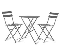 outdoor metal table set. Bistro Set For The Garden. GREY Painted Metal Table \u0026 2 Chairs Outdoor D