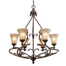sieva collection 6 light russet bronze chandelier