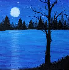 acrylic painting moonlight on the water by katie landon