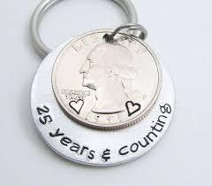 anniversary gift personalized keychain hand sted keychain 25 years counting 25th anniversary gift for men silver anniversary