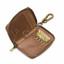 product details of bullcaptain card holder keychain men soft leather coin purse zipper wallet