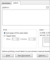 Printed Return Address Label Create Return Address Labels In Microsoft Word Dell Cloud
