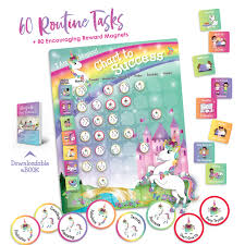 Unicorn Chart To Success Magnetic Dry Erase Daily Routine Responsibility Chore Chart For Kids 80 Reward Tiles 60 Tasks Including Behavior And