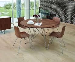 circular danish modern solid walnut table with steel legs