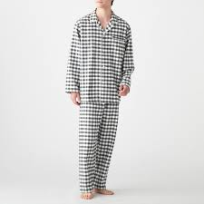 Side Seamless Flannel Pajama Men L Charcoal Gray Check Muji