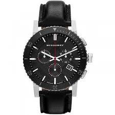 burberry bu9382 black dial chronograph black leather men s watch