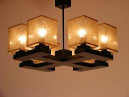 basari chandelier eight lights four wenge brown wooden arms golden fabric lamp shades