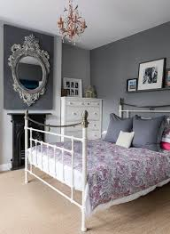 purple and grey bedroom with traditional style