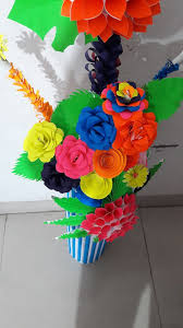 Paper Flower Bouquet In Vase Paper Flower Vase 6 Steps With Pictures