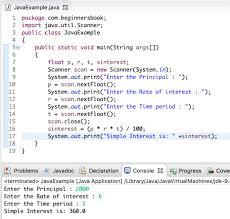 Java Program To Calculate Simple Interest