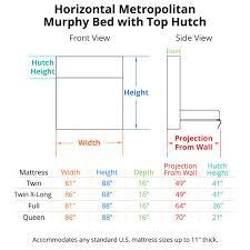 horizontal metropolitan murphy bed with top hutch dimensions twin murphy bed dimensions p88 dimensions