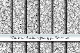 Fancy Patterns Gorgeous Black And White Fancy Patterns Set By P Design Bundles