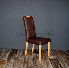 Esszimmerstuhl Mit Griff Sitz Und Rücken Gepolstert Leder Braun Buche