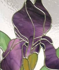 stained glass purple iris flower