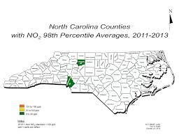 Nc Deq No2 Average Values For 2011 2013 In Nc Counties