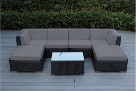 wicker patio furniture. Outdoor Wicker Patio Furniture 7 Piece Sectional Backyard Conversation Set Gray