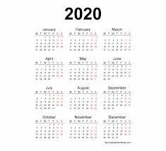 2020 Calendar Free Template 2020 Calendar Template Calendar 2020 Printable One 2020