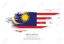 Malaysia Flag Design Vector Flag Of Malaysia Brush Stroke Background