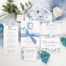 French Blue And Periwinkle Watercolor Flower In Shield Shape Wedding Invitations With Silk Ribbon Swpi036 Stylishwedd