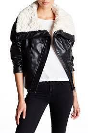 guessfaux shearling collar faux leather moto jacket