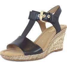 karen women 039 s modern wedge sandals in black leather