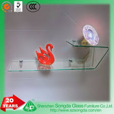 6mm clear glass non tempered bent decorative glass wall shelf
