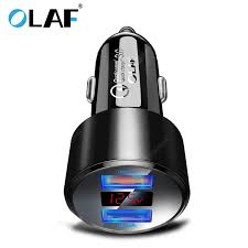 <b>OLAF</b> QC 3.0 <b>Dual USB</b> Charger with LED Display <b>Universal</b> Car ...