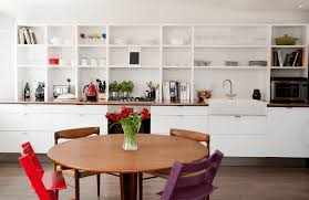 Kitchen Island Open Shelves Cabinets Storages Wooden Wall Open Shelves White Glass Plates