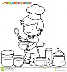 Small Picture Boy Cooking Coloring Page Stock Vector Image 52022452
