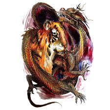 5ks Vodotěsné Velké Tiger A Dragon Dočasné Tetování Samolepky Velké Plné Záda Tetování Muži A ženy Fake Tattoo Nálepka