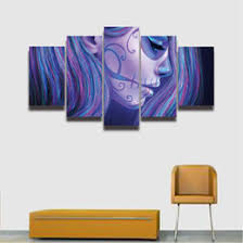 5 panel canvas wall art sugar skull girl face painting hd prints modular picture for home decor living room decorate bedroom on digital wall art uk with shop digital art girl uk digital art girl free delivery to uk