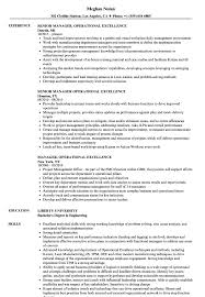 Operational Excellence Example Manager Operational Excellence Resume Samples Velvet Jobs