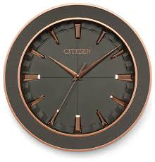 gallery clock with textured gray dial and gray leather frame contemporary wall clocks by citizen clocks