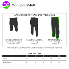 Youth Baseball Pants Size Chart Team Sports Youth Boys Sizes Xs S M L Official Pro Style
