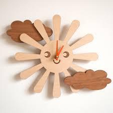 White Kitchen Wall Clocks Wooden Happy Sun Wall Clock Kids Baby Nursery Room Decor